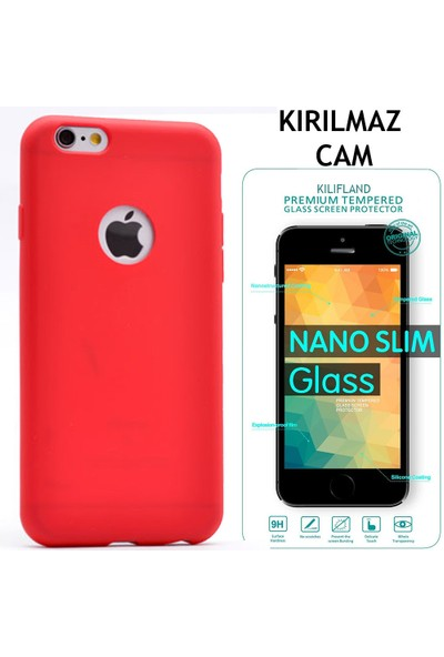 İphone 5 5S Kılıf Mat Silikon +Tempered Glass