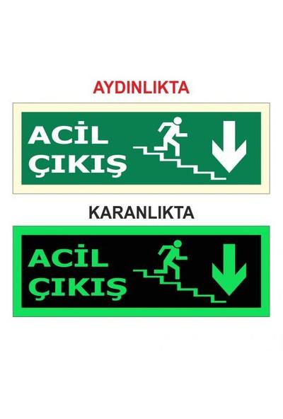 """Modülerteknik """"Fotolümen Levha Acil Çıkış Merdiven"""" 15X30cm"""