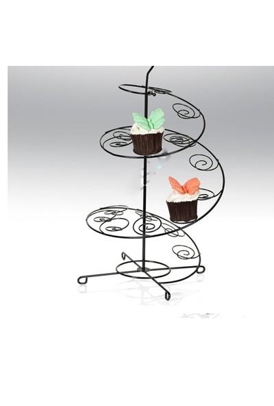 Tahtakale Toptancısı Metal Cupcake Standı Siyah / 15'Li Kek Standı