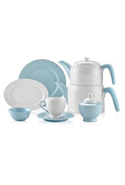 Schafer Eden Collection 34 Parça 6 Kişilik Porselen Kahvaltı Takımı Mavi 28741