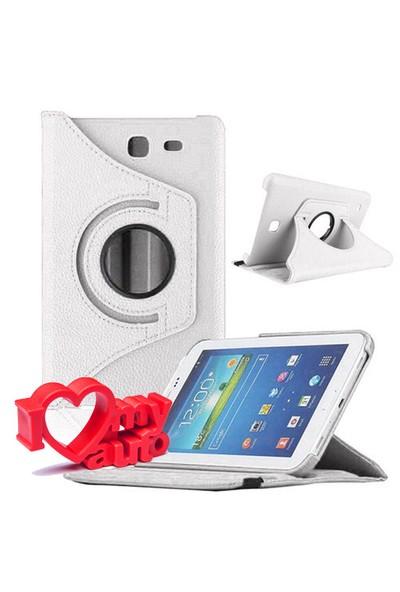 CoverZone Samsung Galaxy Tab 4 T230 Kılıf 360 Derece Döner Beyaz + 3d Araç Kokusu