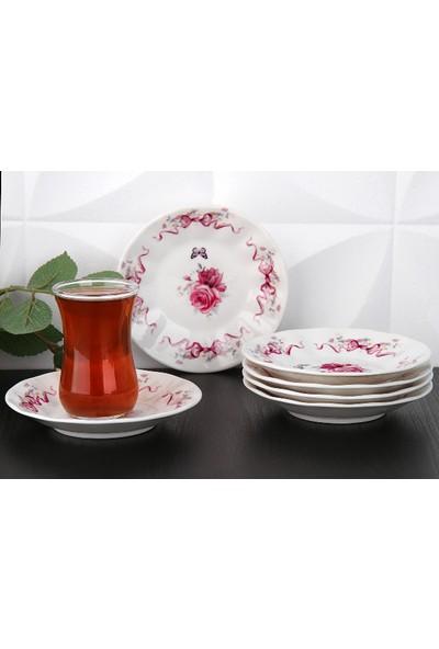 Gönül Porselen 6 Lı Porselen Çay Tabağı Takımı
