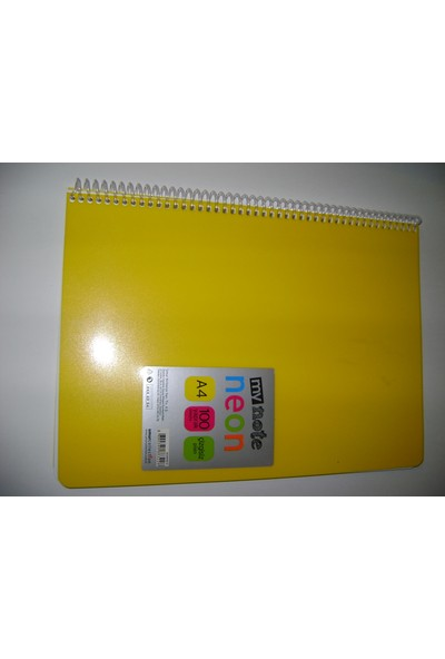 My Note Neon A4 100Yp Çizgisiz(Düz)Pp Kapak