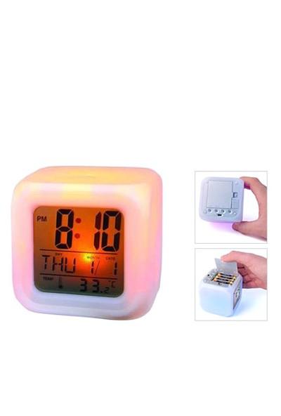Pratik Şeyler 7 Renk Değiştiren Alarmlı Dijital Küp Saat