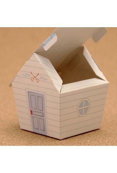Mevlid Hediyesi Mevlüt Şekeri Kutusu - Sevimli Ev - Mavi Çatılı, 25 Adet
