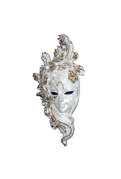 Gold Dekor Tavuskuşu Maske Beyaz Sedfli