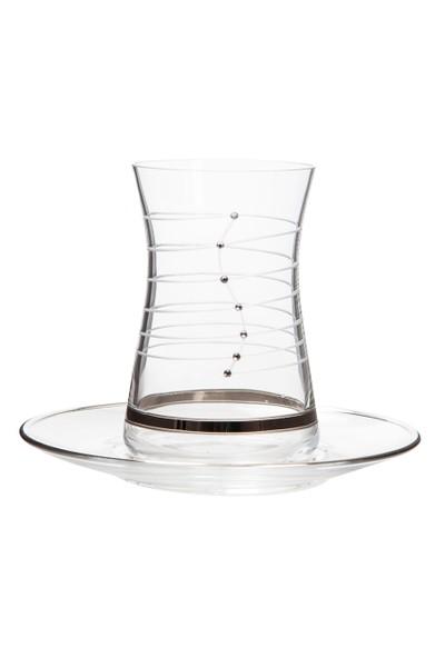 Laliano Helezon Altın Çay Takımı (6 Çay Bardağı + 6 Çay Tabağı )