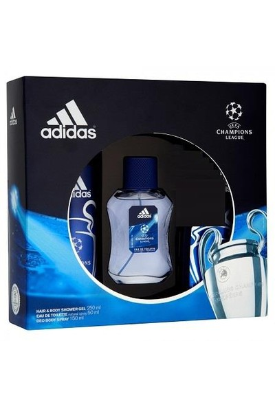 Adidas Champions League 50 Ml Edt Erkek Parfüm + 150 Ml Deodorant + 250 Ml Duş Jeli Set