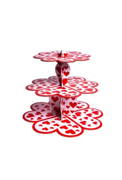 Patisse Renkli 3 Katlı Karton Muffin & Çörek Standı Kalpli