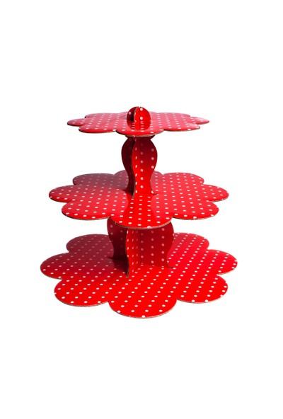 Patisse Renkli 3 Katlı Karton Muffin & Çörek Standı Kırmızı