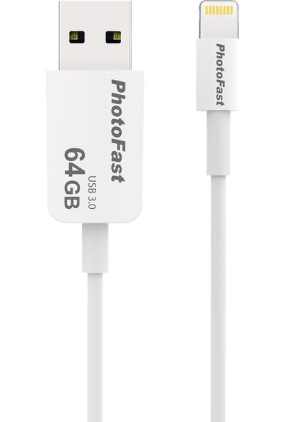 PhotoFast Photo Backup Cable 64GB Lightning / USB 3.0 Şarj Kablolu i-FlashDrive Bellek (iPhone, iPad, iPod) - BPF-PBCU364GB