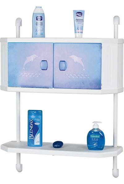 Doğuş Banyo Doğuş Polo Duvara Monte Banyo Dolap Ve Raf Sistemi-Mavi