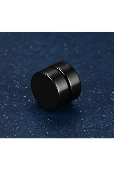 Chavin Unisex Mıknatıslı 8 mm. Siyah Çelik Küpe df22