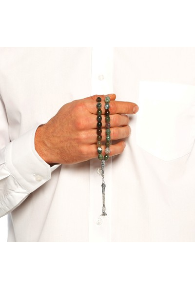 Chavin Agate Taşlı Tuğralı Gümüş Tesbih cn01