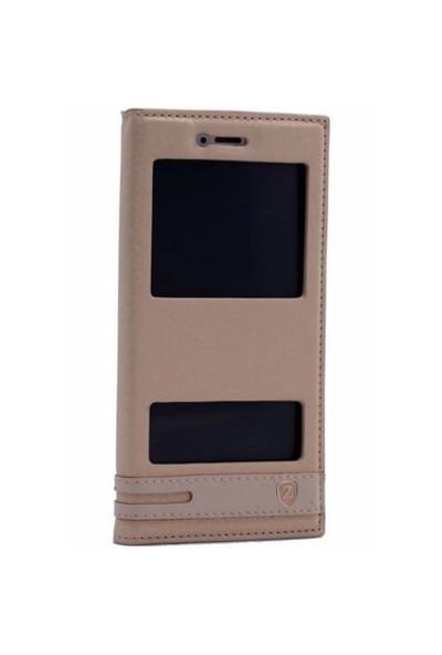 Teleplus Huawei P9 Lite Çift Pencereli Kılıf Gold
