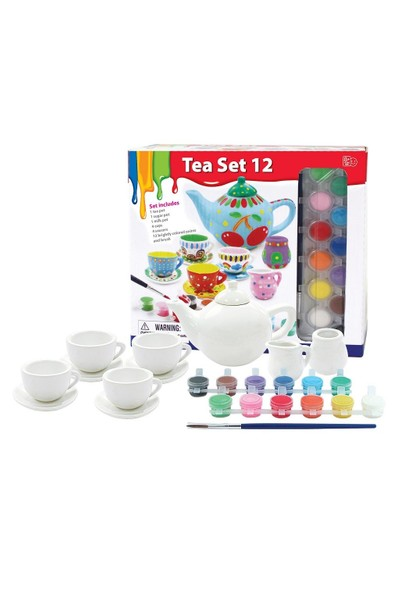 Vardem Çay Seti Boyama Oyunu (12 Parça Çay Set Ve 12 Parça Boya)