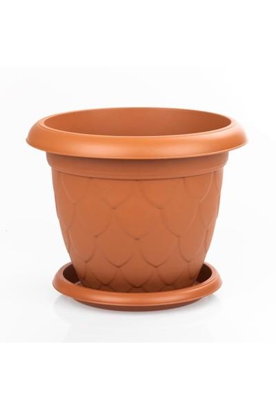 Mini Garden Damla Tabaklı Saksı Seti 3,4 LT Kahverengi