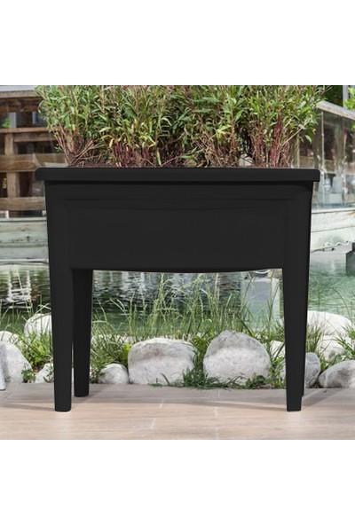 Mini Garden Ayaklı Bahçe Saksı Füme Siyah