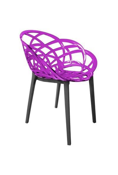 Papatya Flora Transparan Sandalye, Antrasit Ayaklı Mor