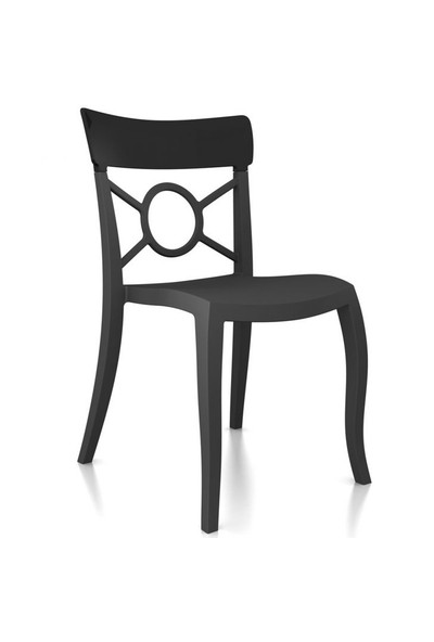 Papatya Opera Kolçaksız Solid Sandalye, Siyah