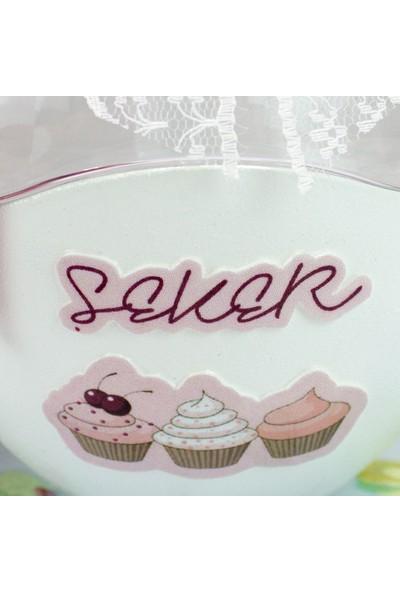 Dekorelle Cupcakes Beyaz Cam Şekerlik