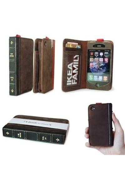 BuldumBuldum İbook - Cüzdanlı İphone Kılıfı - İphone 4/4Skahverengi Gövde/Siyah Sırt