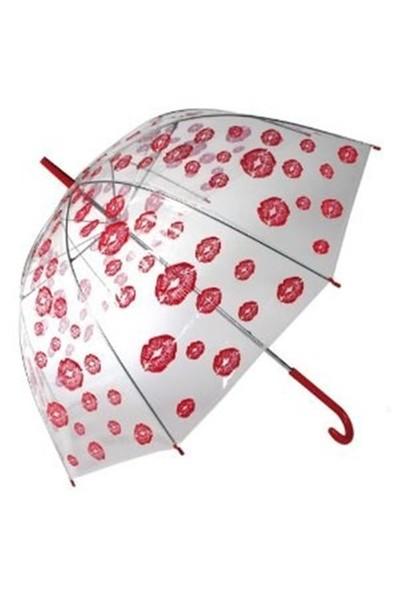 BuldumBuldum Red Lips Dome Umbrella - Öpücük Desenli Şemsiye