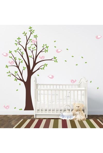 Besta Kahverengi Ağaç ve Yapraklar Duvar Sticker