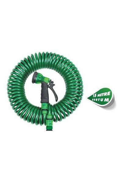 Pratik Şeyler Spiral Hortum 15 Metre+4 Fonsiyonlu Tabanca