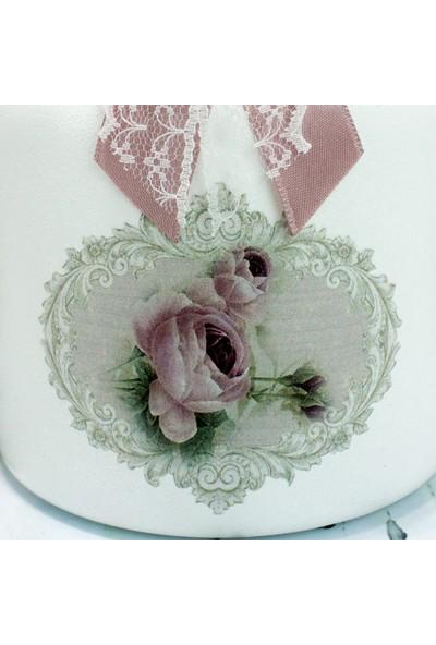 Dekorelle Vintage Gül Kurusu Beyaz Cam Kavanoz Seti 1 lt.