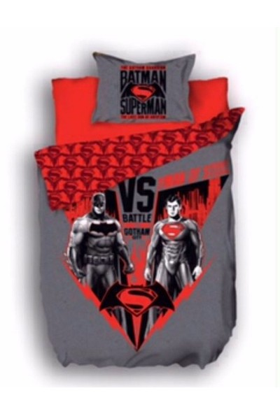 Batman v Superman Nevresim Takımı - Tek Kişilik - Gri