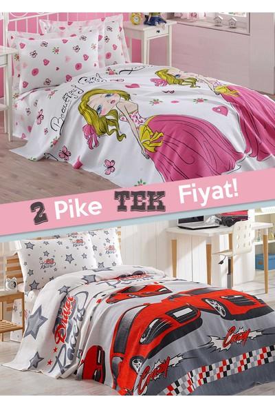 Eponj Home 2'li Pike Tek Kişilik Crayz-Girl Kırmızı-Beyaz