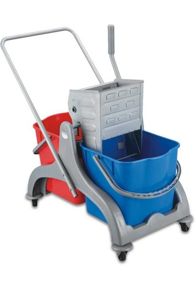 Profesyonel Temizlik Seti Çift Kovalı Paspas Arabası Plastik Taşıyıcılı ve Presli