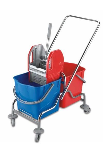 Üçtem Bahat Çift Kovalı Paspas Arabası Krom Taşıyıcılı Metal Presli