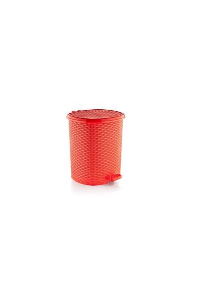 Özer Plastik Hasır Pedallı Çöp Kovası No:4- 20 Lt-Kırmızı
