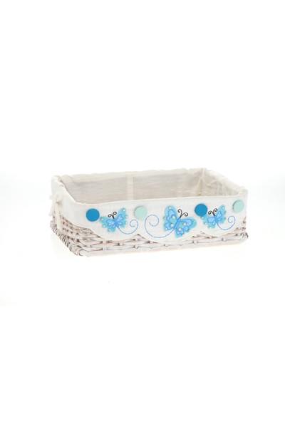 Kanca Ev Hasır, Eskitilmiş Dikdörtgen Beyaz Sepet, Mavi Kelebekli, Orta