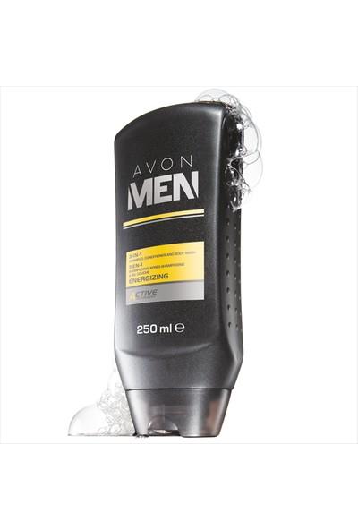 Avon Men Energizing 3'ü 1 Arada Şampuan, Saç Kremi ve Vücut Şampuanı - 250ml