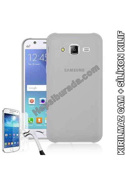 Teknomeg Samsung Galaxy J5 Şeffaf Silikon Kılıf + Temperli Cam