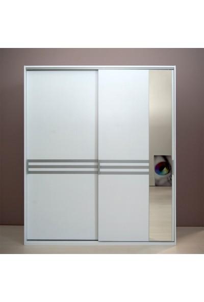 Tdesigno Doruk Aynalı Sürgü Kapaklı Gardırop - Beyaz
