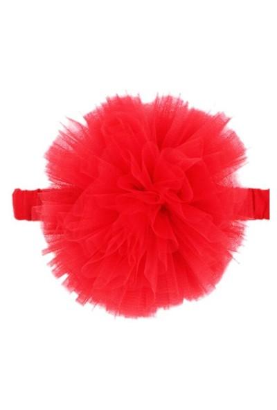 Karamela Ponpon Saç Bandı Kırmızı