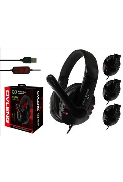 Ovleng Q7 Siyah Mikrofonlu Usb Kulaklık