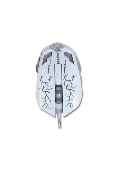 Flaxes FLX-950GMB 3200DPI Oyuncu Beyaz Mouse + Mousepad