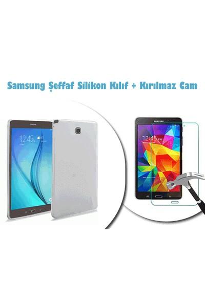 Toptancı Kapında Samsung Galaxy Tab T113 Kırılmaz Cam + Şeffaf Kılıf