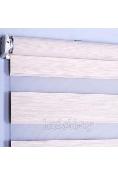 Harikabirsey Zebra Perde Krem-Sütlü Kahve Bambu desen Stor 80x200 cm