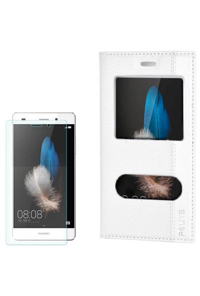 Cep Market Huawei P8 Lıte Kılıf Kapaklı Pencereli Magnum + Kırılmaz Cam