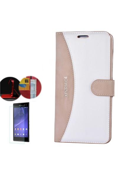 Gpack Sony Xperia C4 Kılıf Kapaklı Cüzdan Kartvizitli + Cam
