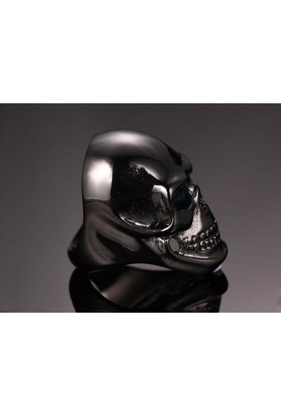 Chavin Siyah Büyük Skull Kuru Kafa Çelik Erkek Yüzük df94