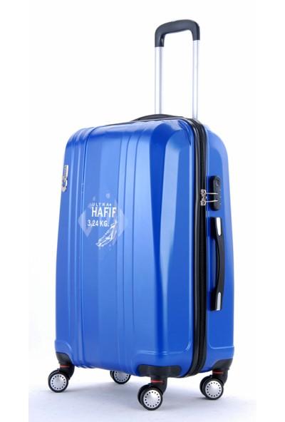 Gnza 8104 4 Tekerlekli Orta Boy Valiz Mavi