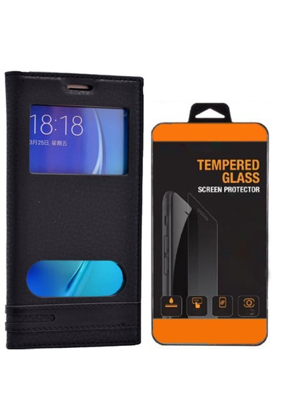 Exclusive Phone Case Samsung Galaxy J5 Kılıf Kapaklı Pencereli Elite Tempered Glass