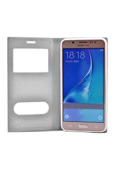 Exclusive Phone Case Samsung Galaxy J2 Kılıf Kapaklı Pencereli Elite Tempered Glass